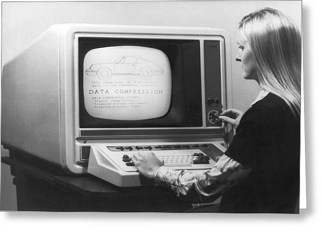 Woman Working At 1975 Monitor Greeting Card by Underwood Archives