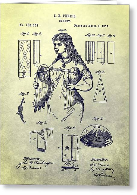 Woman's Corset Patent Greeting Card by Dan Sproul