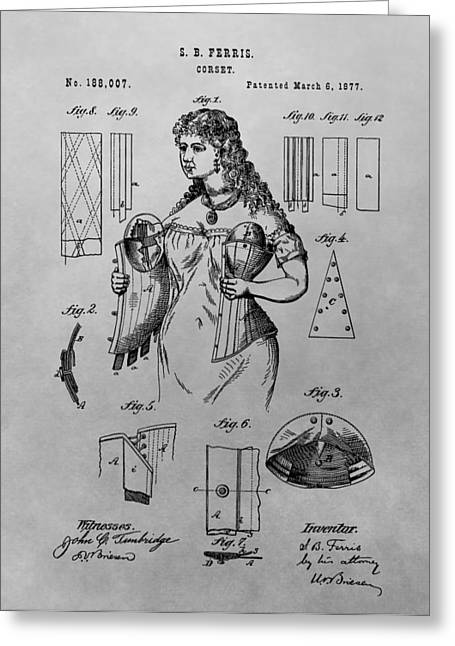 Woman's Corset Patent Drawing Greeting Card by Dan Sproul