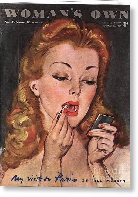 WomanÕs Own 1945 1940s Uk Make-up Greeting Card by The Advertising Archives