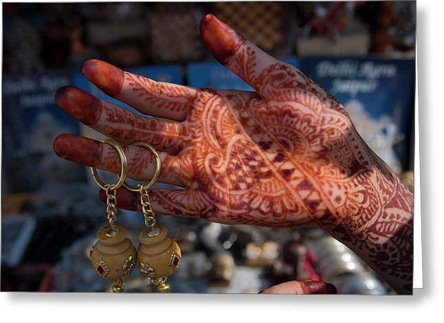 Woman's Palm Decorated In Henna Greeting Card