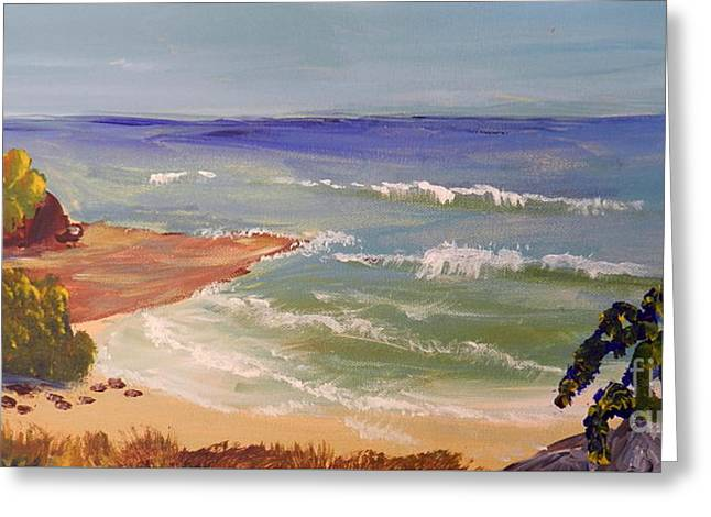 Greeting Card featuring the painting Wombarra Beach by Pamela  Meredith