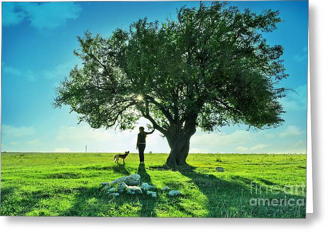 women and dog and Beautiful Greens Greeting Card by Boon Mee