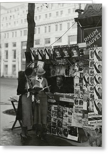 Women At A Newsstand In Paris Greeting Card by George Hoyningen-Huene