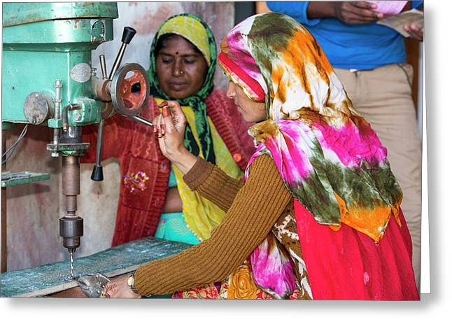 Women Building Solar Cookers Greeting Card