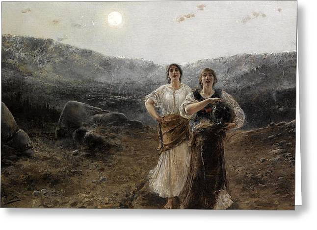 Women By Moonlight Greeting Card by Agustin Salinas y Teruel