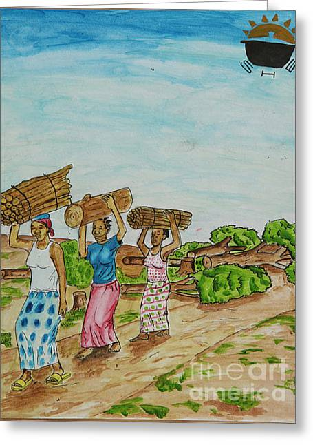 Women Carrying Logs To Cook Greeting Card