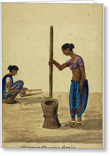 Women Cleaning Grain Greeting Card by British Library