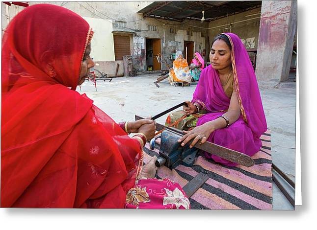 Women Constructing Solar Cookers Greeting Card