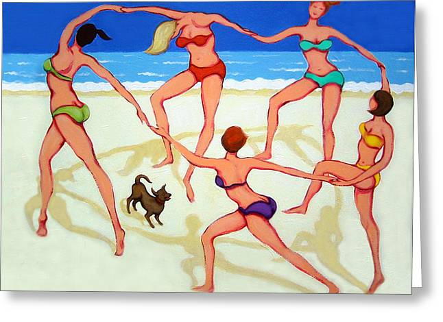 Women Dancing On Beach - Happy Dance Greeting Card by Rebecca Korpita