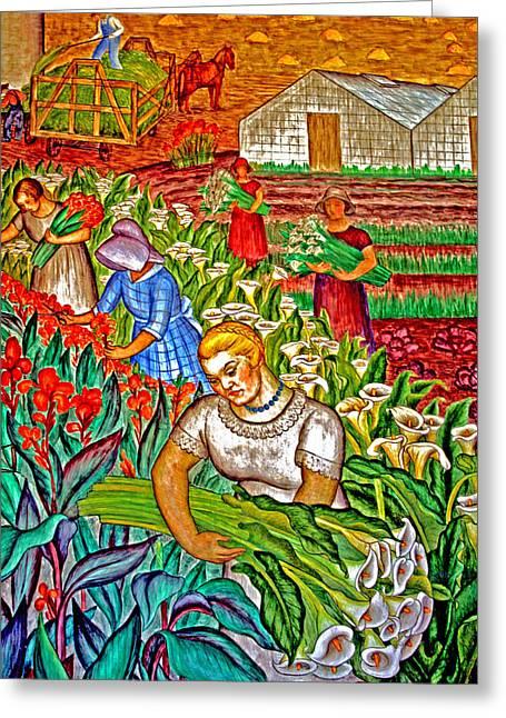 Women Gathering Flowers Greeting Card