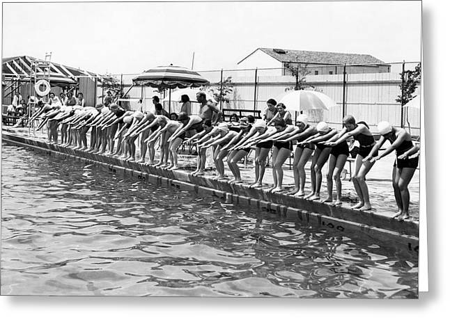 Women Get Swimming Lessons Greeting Card by Underwood Archives