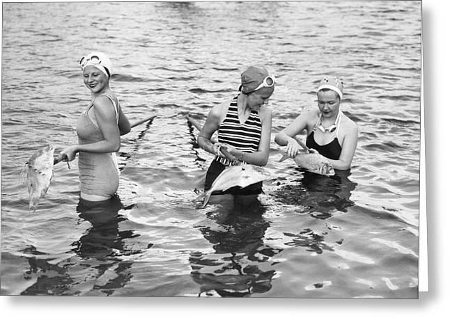 Women Gigging Fish In Miami Greeting Card