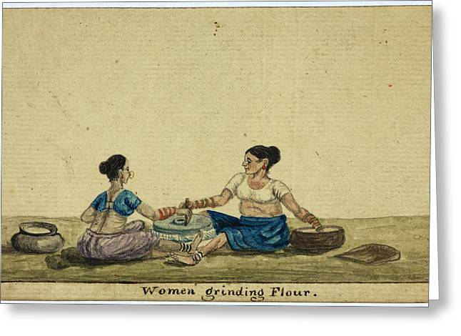Women Grinding Flower Greeting Card by British Library