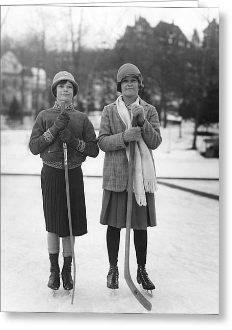 Women Hockey Players Greeting Card by Underwood Archives