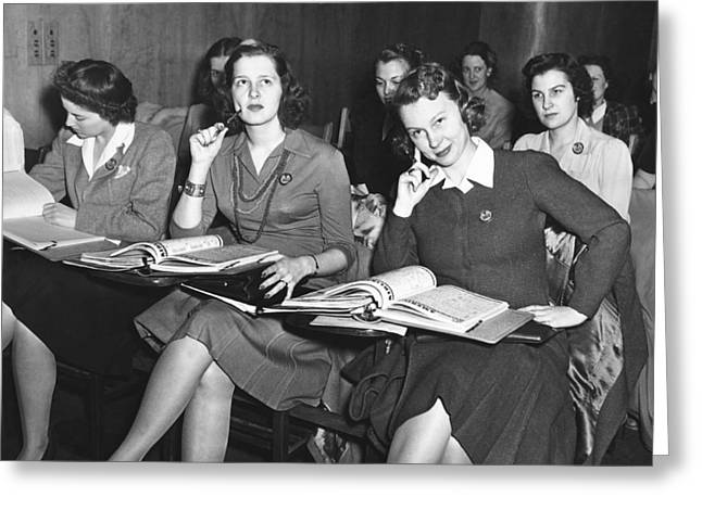 Women In Airline Class Greeting Card by Underwood Archives
