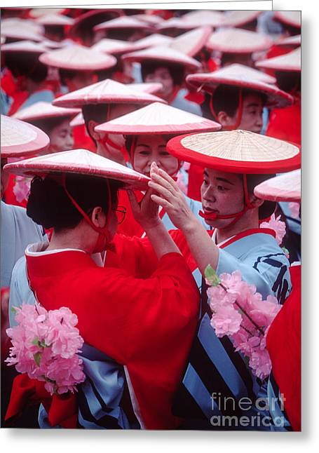 Women In Heian Period Kimonos Preparing For A Parade Greeting Card