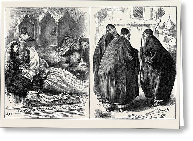 Women In Persia In The Harem Left In The Street Right Greeting Card by English School