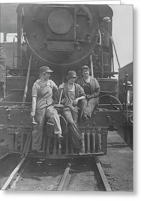 Women Laborers Seated On Front Greeting Card by Stocktrek Images