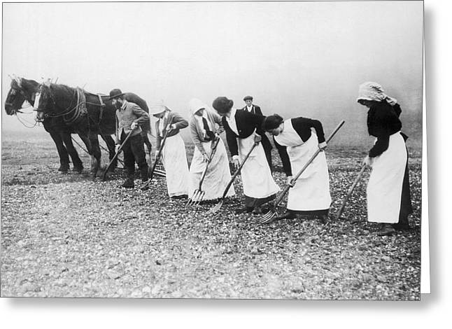Women Learning Farming Greeting Card by Underwood Archives