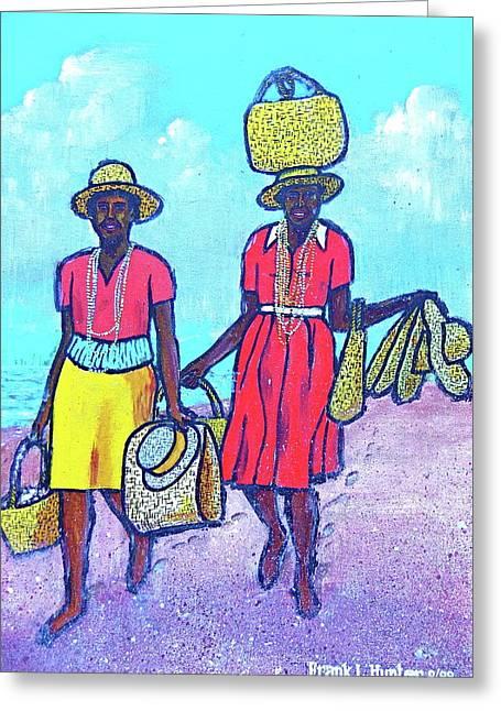 Women On Beach At Grenada Greeting Card by Frank Hunter