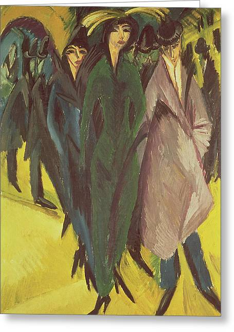 Women On The Street Greeting Card by Ernst Ludwig Kirchner