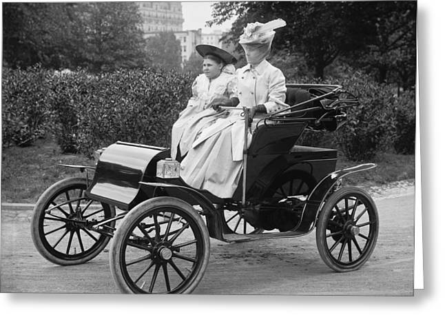 Women Out For An Auto Ride Greeting Card by Harris & Ewing