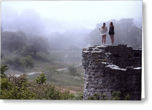 Women Overlooking Bright Foggy Valley Greeting Card