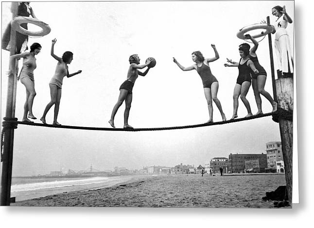 Women Play Beach Basketball Greeting Card by Underwood Archives