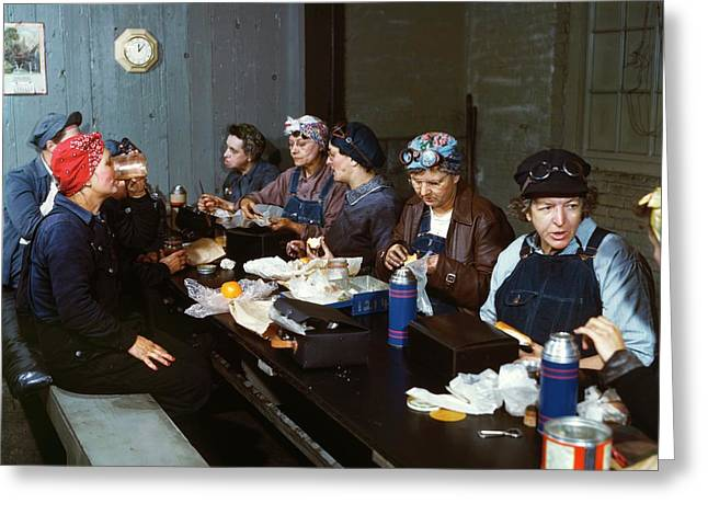 Women Railway Workers At Lunch Greeting Card by Library Of Congress