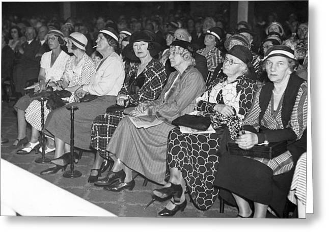 Women Spectators Greeting Card by Underwood Archives