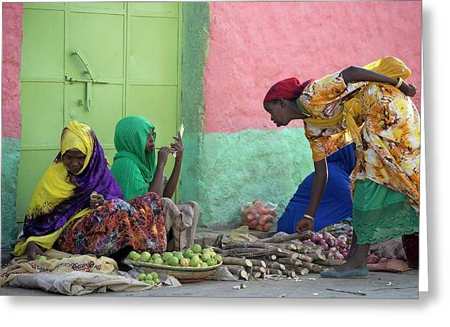 Women Traders At A Market In Harar Greeting Card by Tony Camacho