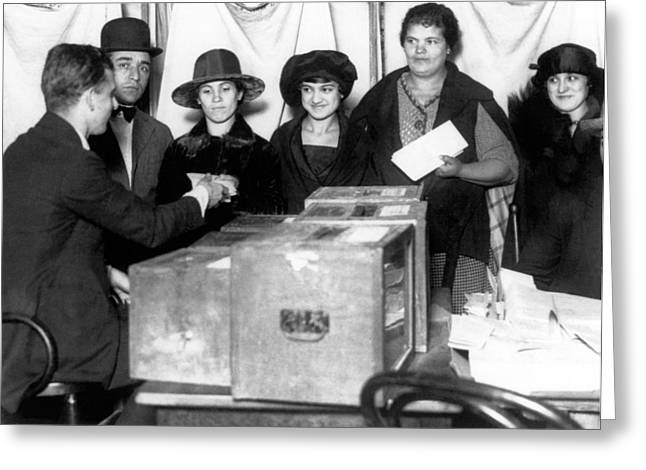Women Voting For First Time Greeting Card by Underwood Archives