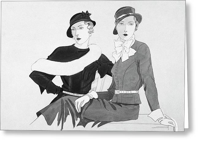 Women Wearing Canotiers Style Hats Greeting Card by Douglas Pollard