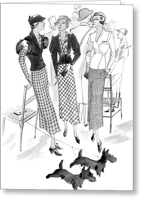 Women Wearing Checked Suits Greeting Card by Jean Pag?s