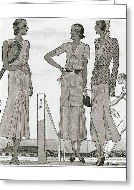 Women Wearing Designer Dresses Greeting Card by Pierre Mourgue