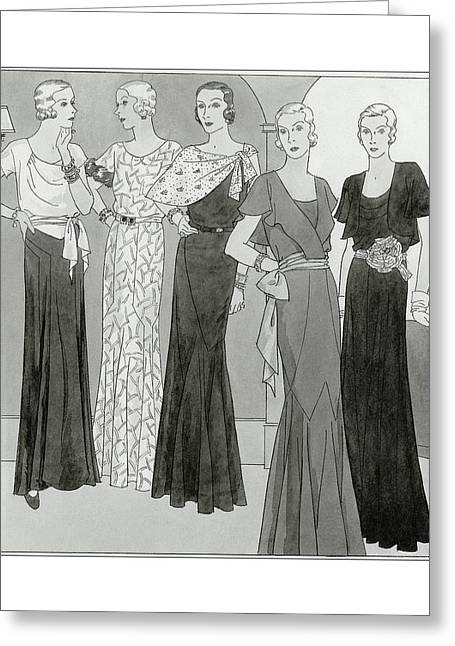 Women Wearing Designer Dresses Greeting Card by Polly Tigue Francis