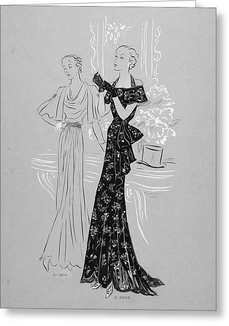 Women Wearing Dresses Greeting Card by Eduardo Garcia Benito