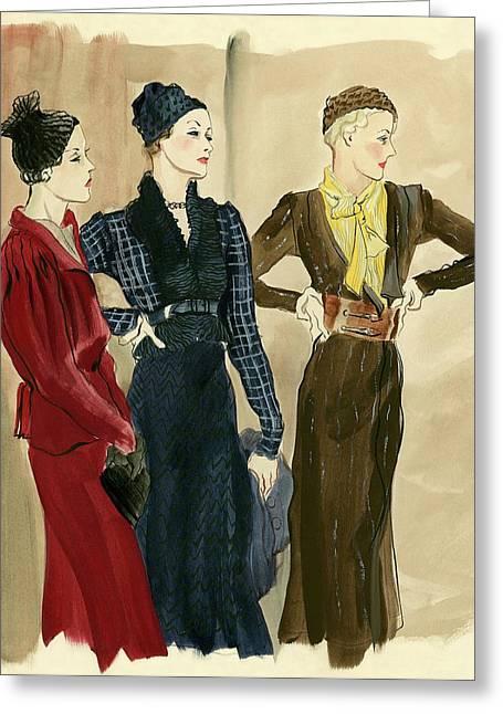 Women Wearing Schiaparelli Greeting Card by Ren? Bou?t-Willaumez
