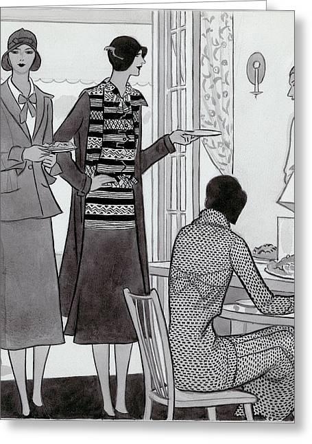 Women Wearing Semi-sport Ensembles By Chanel Greeting Card by Artist Unknown