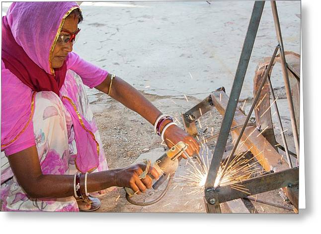 Women Welding Joints Greeting Card