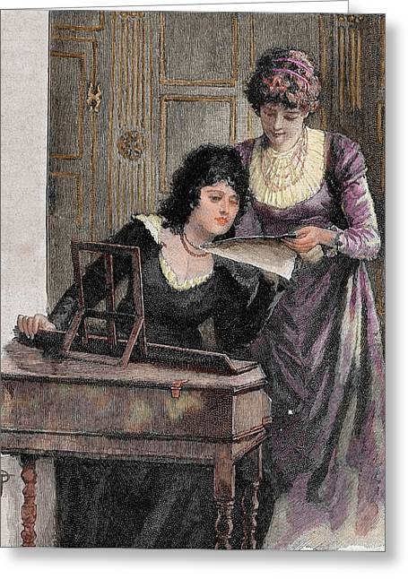 Women With A Harpsichord Greeting Card by Prisma Archivo