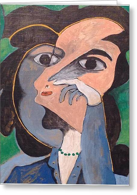 Women With Green Necklace Greeting Card by John Andro Avendano
