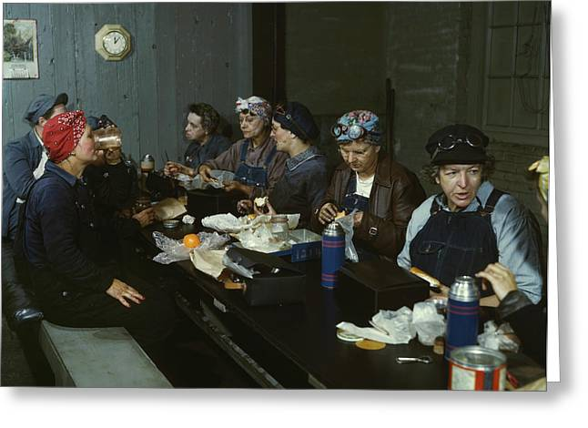 Women Workers Having Lunch Greeting Card