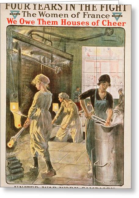Women Working In Metal Foundry Greeting Card by Library Of Congress