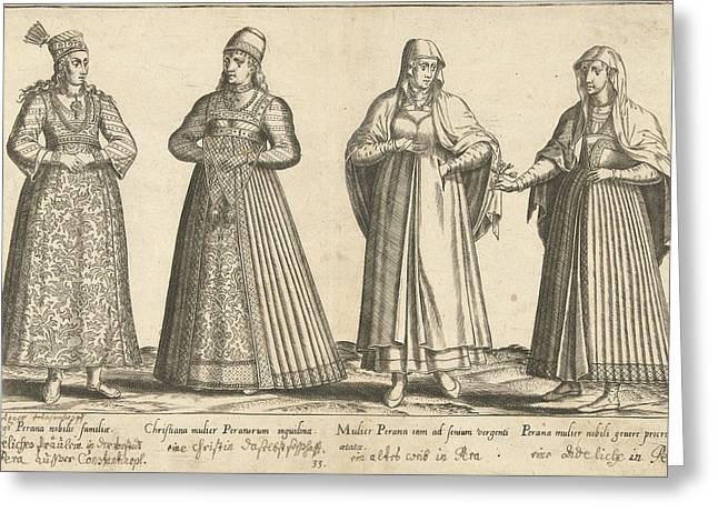 Womens Dress From Constantinople Around 1580 Greeting Card by Abraham De Bruyn And Joos De Bosscher