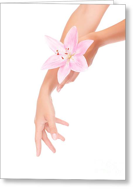 Women's Hands With Pink Lily Greeting Card by Anna Om