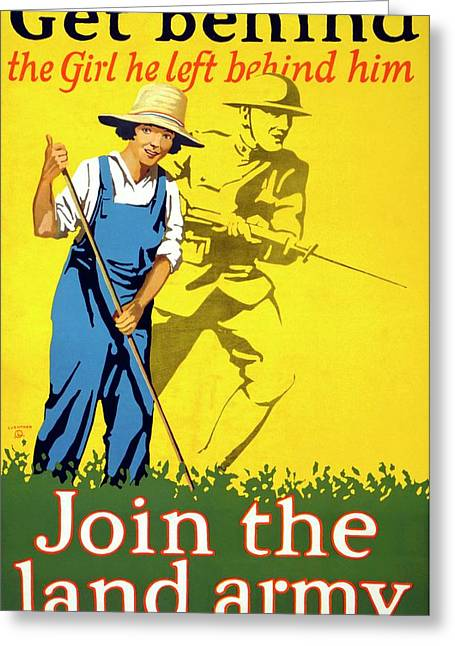 Women's Land Army Recruitment Poster Greeting Card by Library Of Congress