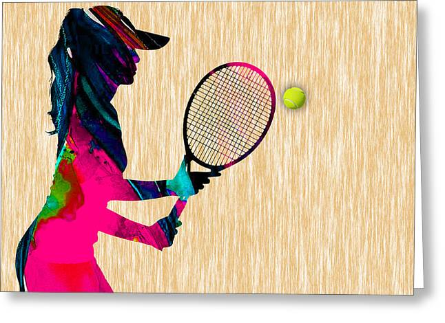 Womens Tennis Watercolor Greeting Card by Marvin Blaine