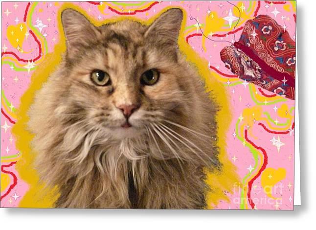 Wonder Kitty Greeting Card by Jacquelyn Roberts